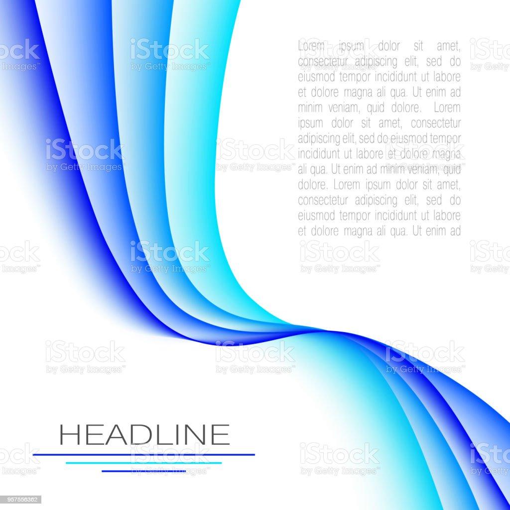 Diseño con ondas abstractas de colores azul brillantes. Plantilla elegante para la cubierta, libros, folletos, revistas, carteles, folletos, flyers, presentaciones, infografía, páginas web. Fondo de vector. Ilustración EPS10 - ilustración de arte vectorial
