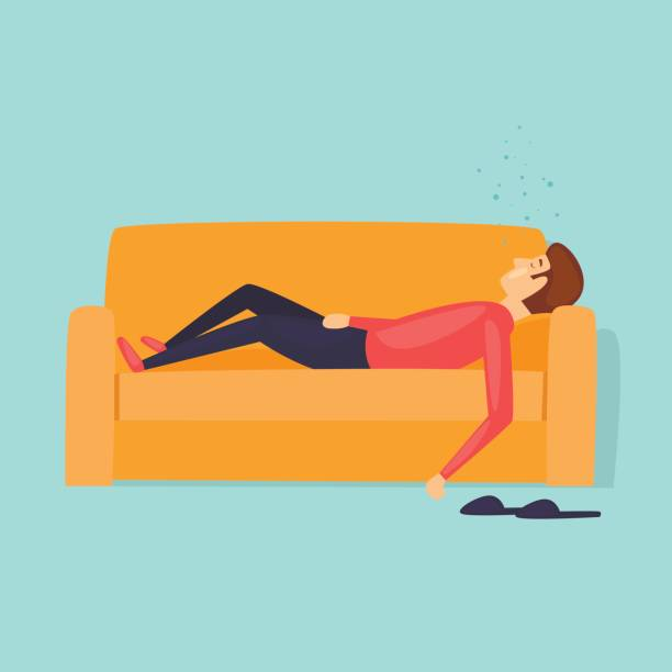 illustrazioni stock, clip art, cartoni animati e icone di tendenza di laziness, a man is sleeping on the couch. flat design vector illustration. - uomo stanco
