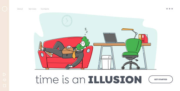 illustrazioni stock, clip art, cartoni animati e icone di tendenza di laziness, emotional burnout landing page template. tired character sleep on couch near office desk, employee sleeping - divano procrastinazione