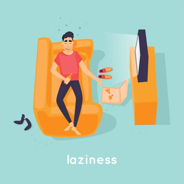 Laziness guy is lying on the couch. Flat vector illustration in cartoon style. vector art illustration