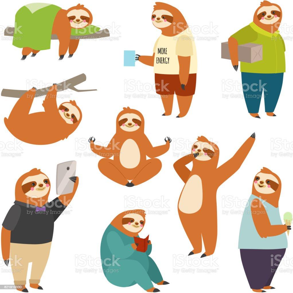 Laziness sloth animal character different human pose lazy cartoon kawaii wild jungle mammal flat design vector illustration people life role vector art illustration