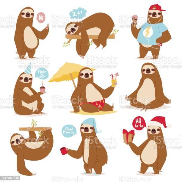 Laziness sloth animal character different pose like human cute lazy vector id642352746?b=1&k=6&m=642352746&s=612x612&h=dwnxnnhfghactj 11ofoy40 ycvzo m0uv2frc3lodo=