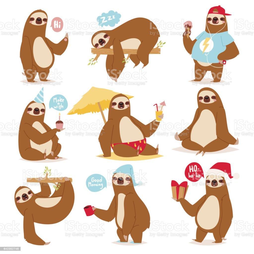 Paresse paresse animaux caractère différent poser comme humain dessin animé paresseux mignon kawaii et ralentir illustration vectorielle de jungle sauvage mammifère design plat - Illustration vectorielle