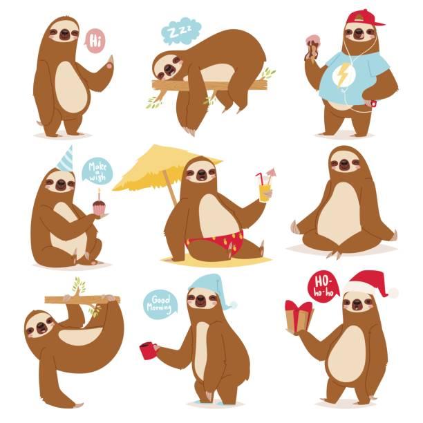 faulheit sloth tier charakter anders darstellen wie menschliche niedlichen cartoon faul kawaii und verlangsamen wilden dschungel-säugetier-flaches design-vektor-illustration - faul ast stock-grafiken, -clipart, -cartoons und -symbole