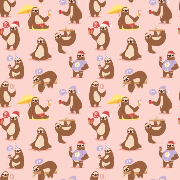 Laziness sloth animal character different pose seamless pattern vector vector art illustration