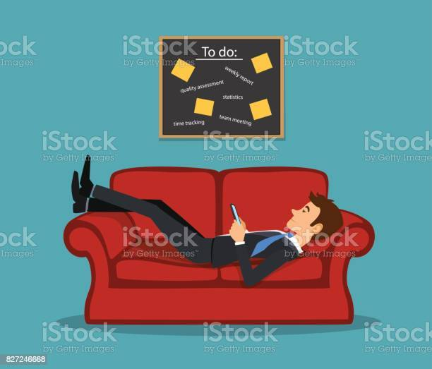 Lazy bored employee laying on couch playing with telephone postponing vector id827246668?b=1&k=6&m=827246668&s=612x612&h=dxjmktznyfeyhlrsh1cio6fiacjgqlqol6jsplczots=