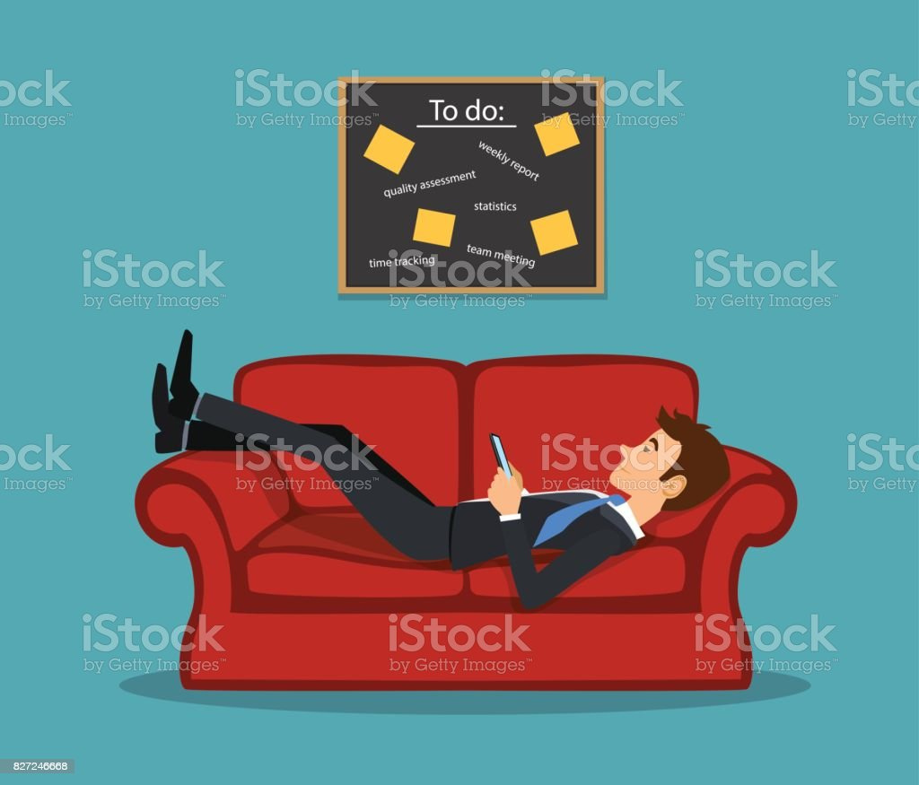 Lazy bored employee laying on couch, playing with telephone postponing his tasks from to do list. procrastination vector illustration vector art illustration