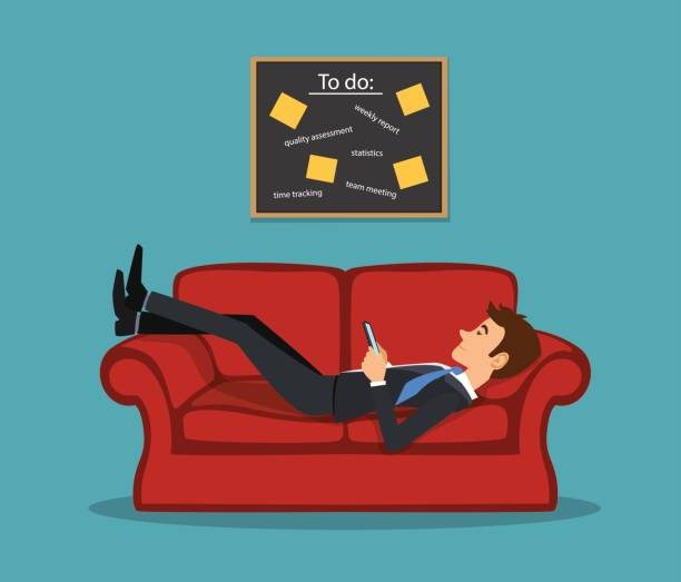 illustrazioni stock, clip art, cartoni animati e icone di tendenza di lazy bored employee laying on couch, playing with telephone postponing his tasks from to do list. procrastination vector illustration - divano procrastinazione