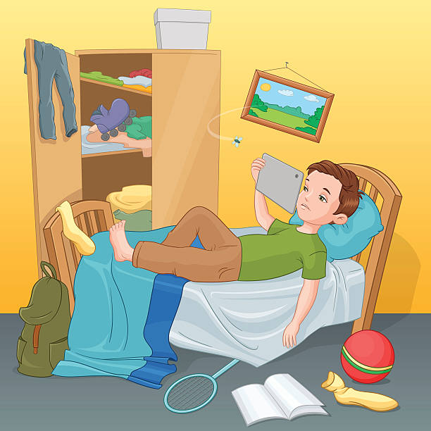 stockillustraties, clipart, cartoons en iconen met lazy boy lying on bed with tablet. vector illustration. - lazy