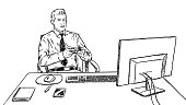 lazy businessman is playing video game at work