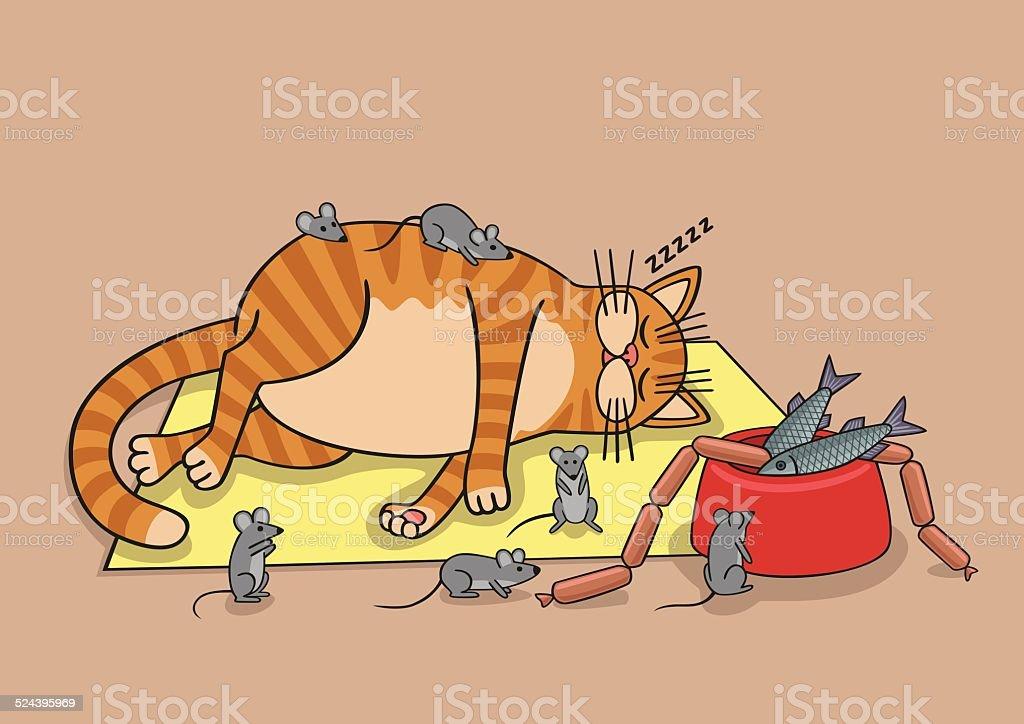 Lazy cat. vector art illustration