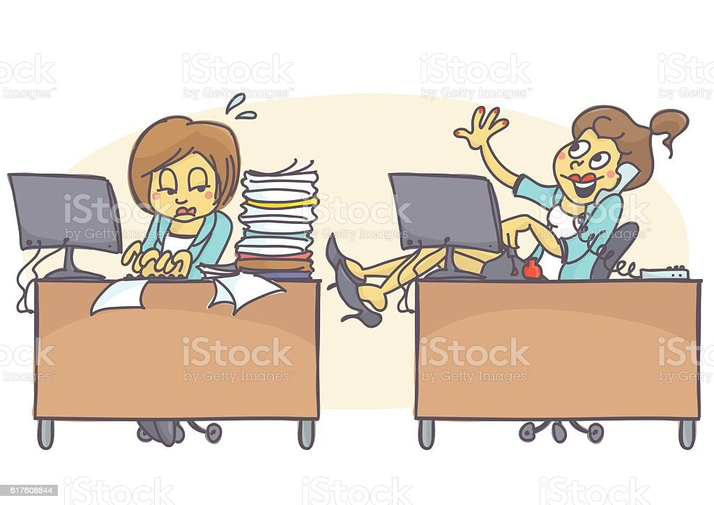 Lazy coworker vector art illustration