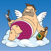 fat cupid drinks beer while sitting on a cloud