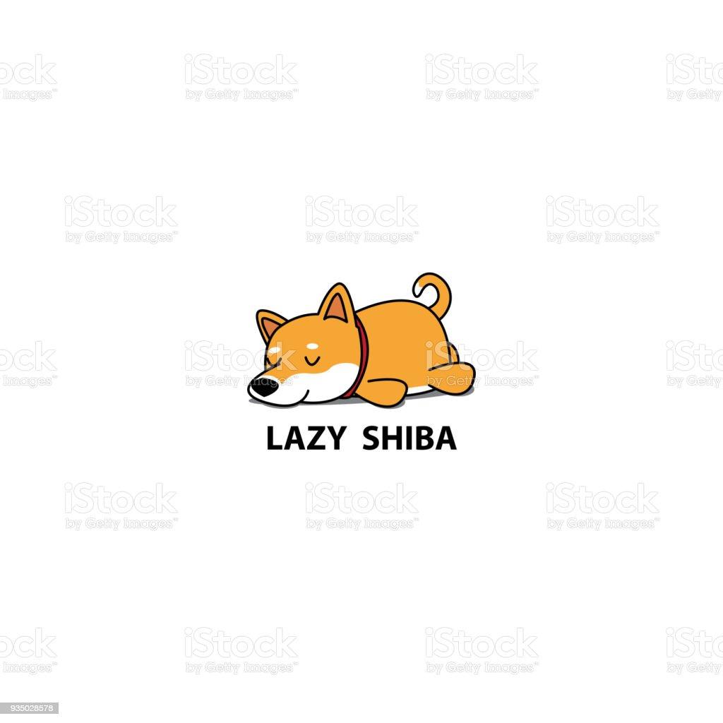 怠惰な犬かわいい柴柴犬子犬が寝ているアイコンシンボル デザイン