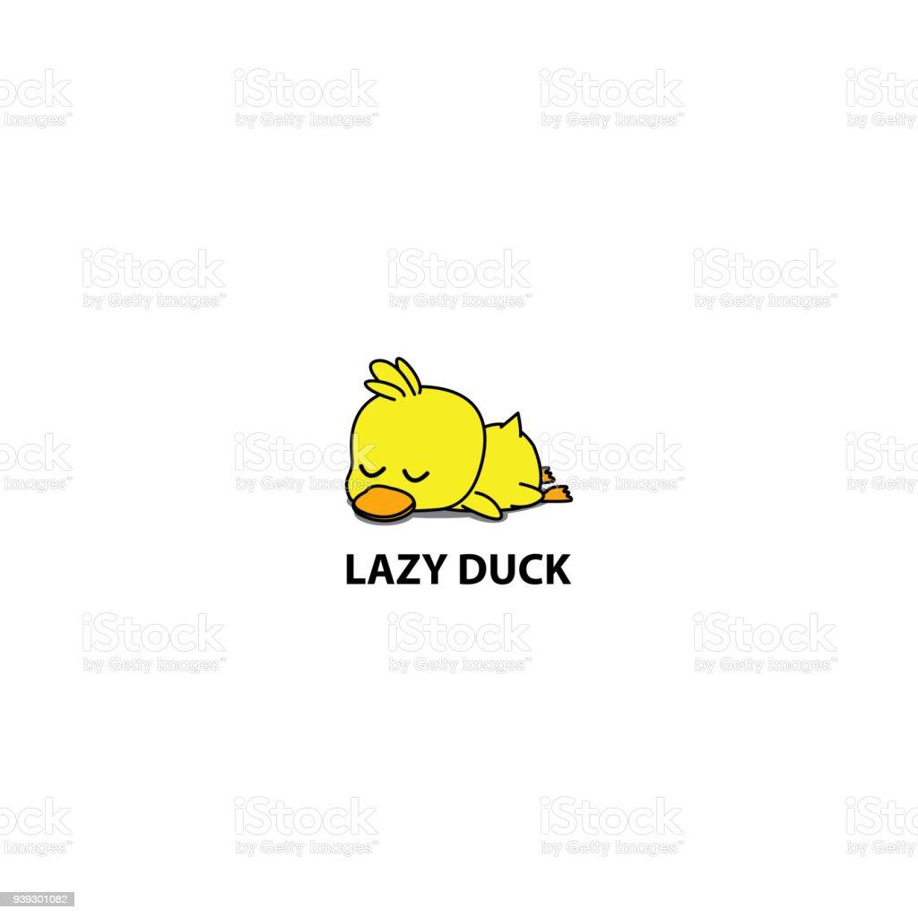 Lazy duck, cute duckling sleeping icon, symbol design, vector illustration vector art illustration