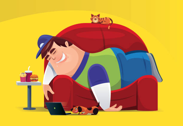 Top 60 Cartoon Of Fat Guy Laying Couch Clip Art Vector Graphics And