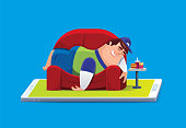 vector illustration of lazy fat man lying on sofa with smartphone