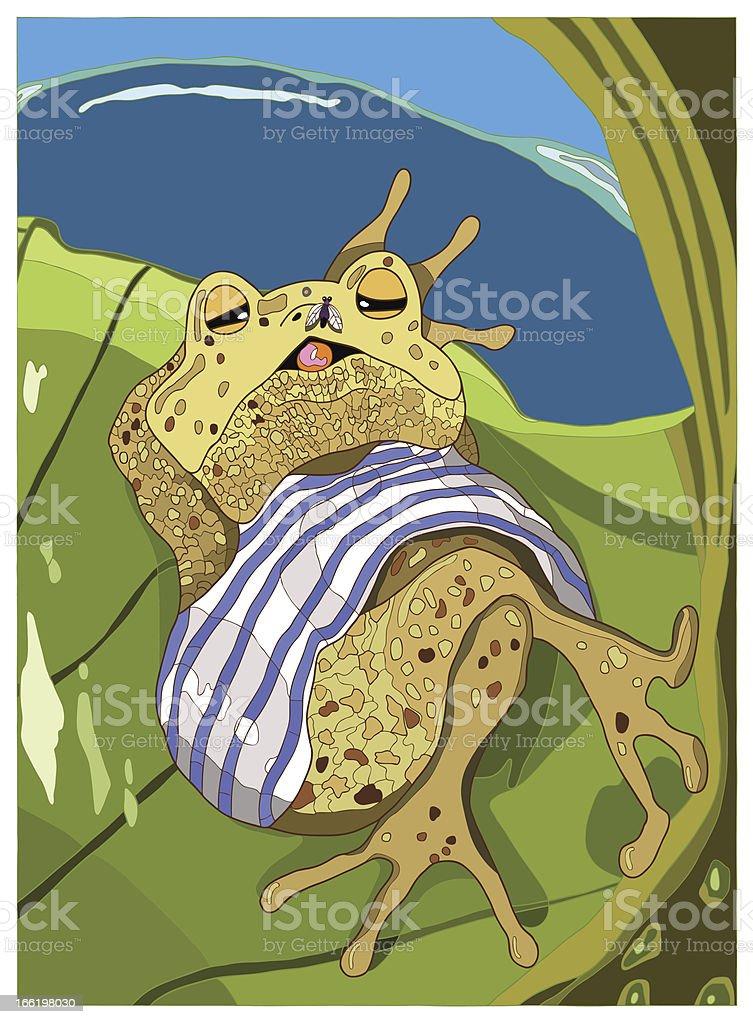 Lazy Frog vector art illustration