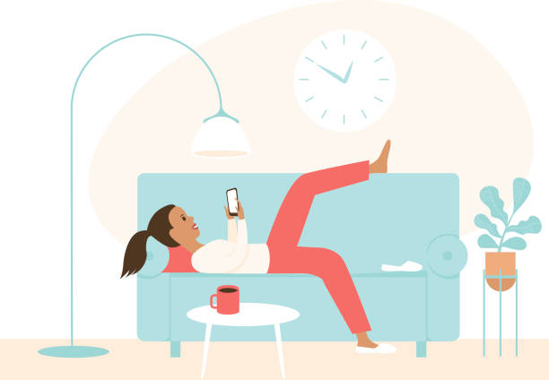 illustrazioni stock, clip art, cartoni animati e icone di tendenza di lazy girl lying on a sofa using smartphone. chatting in social media, procrastination. concept for coronavirus covid-19 quarantine self isolation - divano procrastinazione