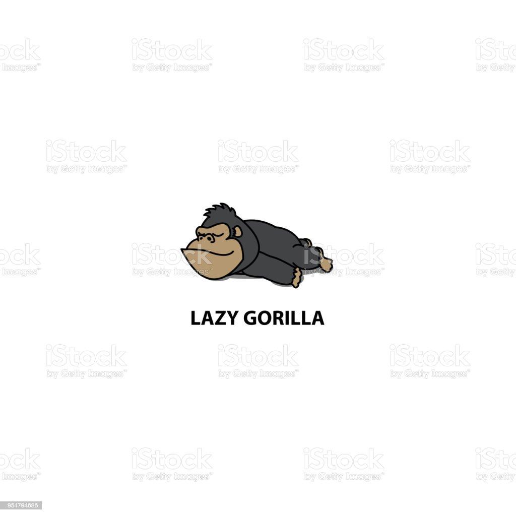 アイコン、ベクトル図を眠っている怠惰なゴリラ ベクターアートイラスト