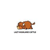 Lazy highland cattle, cute highland cow sleeping icon, logo design, vector illustration