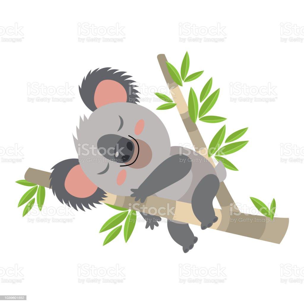 Lazy Koala Sleeping On A Branch Cartoon Vector Illustration Animal Of Australia Stock Illustration Download Image Now Istock