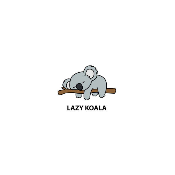 lazy koala sleeping on a branch cartoon, vector illustration - koala stock illustrations