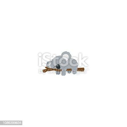 istock Lazy koala sleeping on a branch flat design, vector illustration 1086399634
