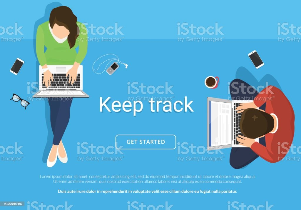 Lazy people sitting on the floor and working with laptop vector art illustration