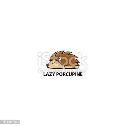Lazy porcupine sleeping icon, logo design, vector illustration