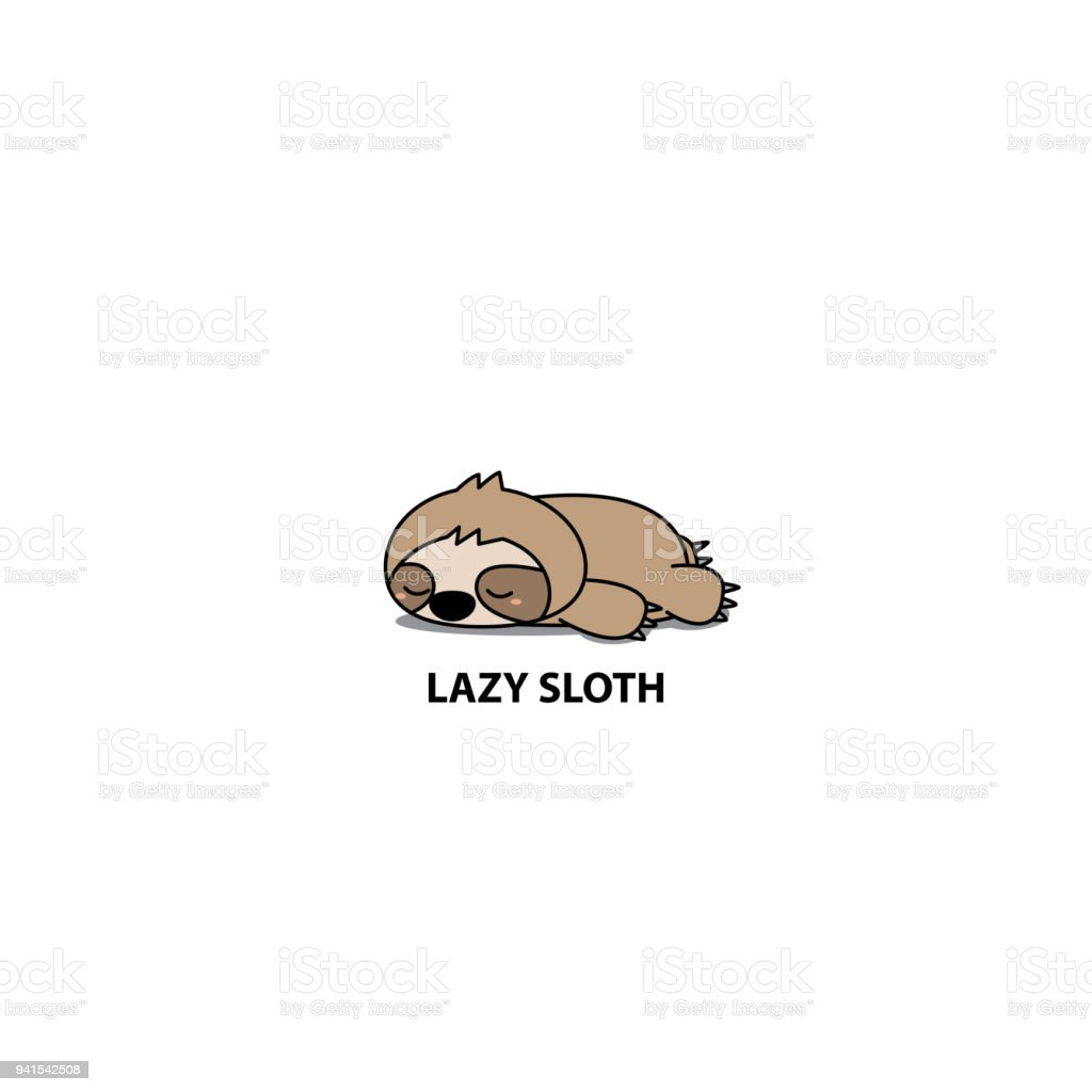 Lazy sloth, cute sloth sleeping icon, logo design, vector illustration vector art illustration