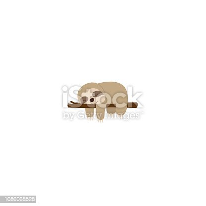 Lazy sloth sleeping on a branch, vector illustration