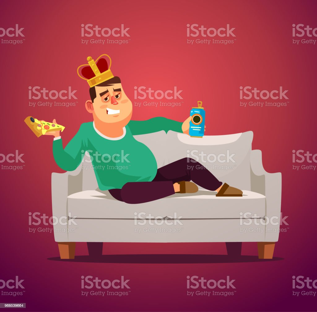 Lazy sofa king man unemployed workless jobless character laying eating pizza and drinking beer. Flat cartoon illustration graphic design concept element vector art illustration