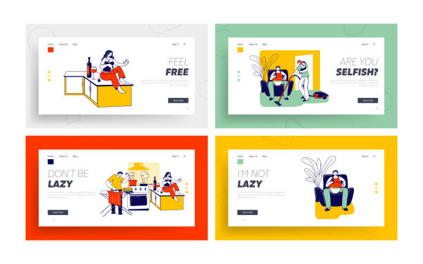 Lazy Spouse Landing Page Template Set. Wife or Husband Household Duties while their Partner Do Nothing at same Time Lazy Spouse Landing Page Template Set. Wife or Husband Characters Household Duties while their Partner Do Nothing at same Time. Family Discrimination, Depreciation. Linear People Vector Illustration baby sloth stock illustrations