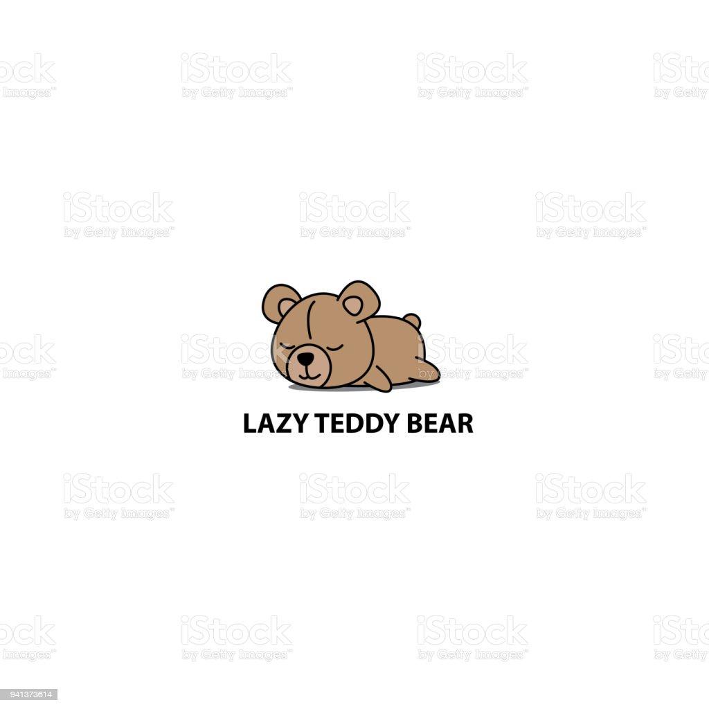 Lazy teddy bear, cute bear sleeping icon, logo design, vector illustration vector art illustration