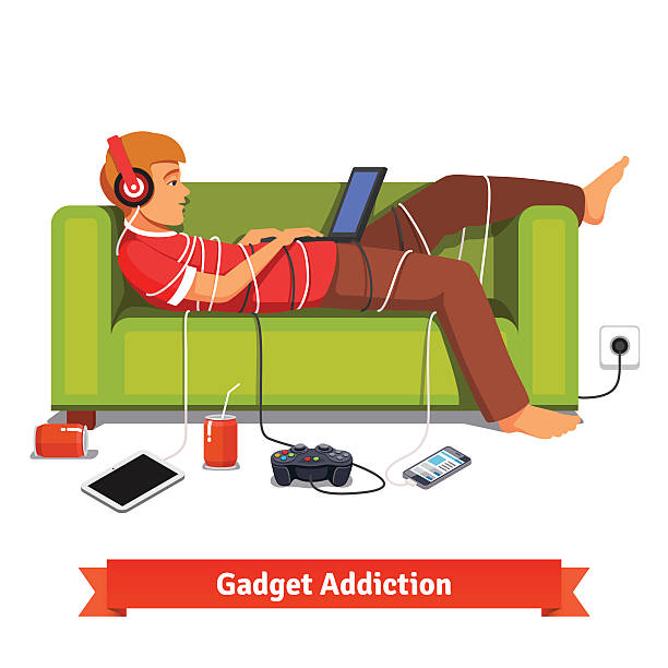 のんびりしたティーンスチューデント横たわる、ノートパソコン - ゲーム ヘッドフォン点のイラスト素材/クリップアート素材/マンガ素材/アイコン素材