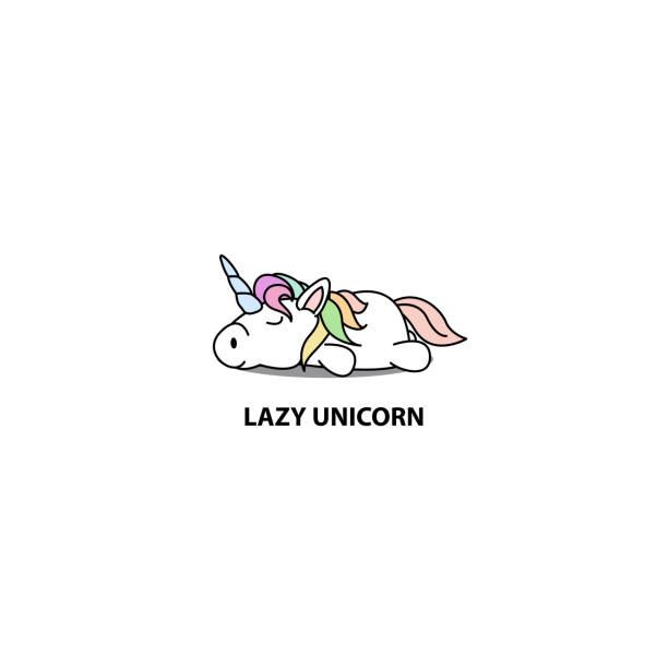 Lazy unicorn icon, logo design, vector illustration vector art illustration