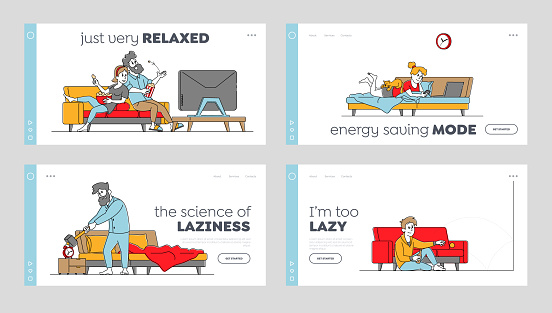 Lazy Weekend Landing Page Template Set. Characters Relaxing at Home Watching Tv, Reading and Watch Online Video or Drink