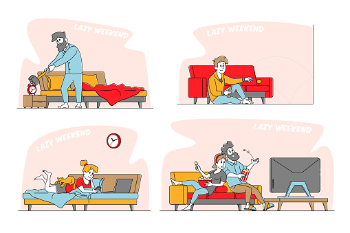 Lazy Weekend Set. Male and Female Characters Relaxing at Home Watching Tv, Reading and Watching Online Video, Drinking