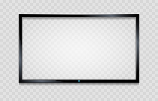Lcd screen frame. Blank tv frame with reflective screen isolated on transparent, vector empty glass monitor with reflection