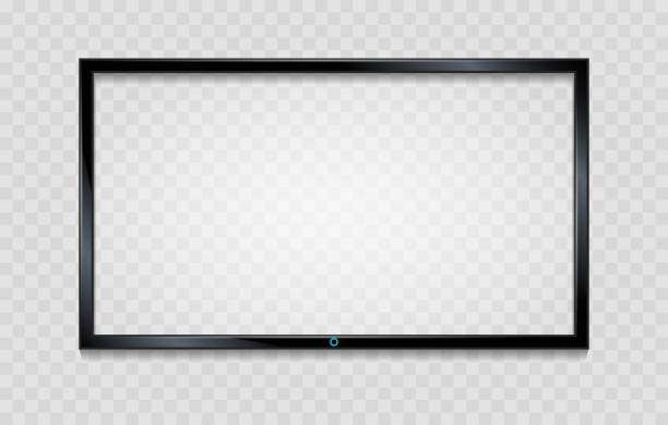 Lcd screen frame on transparent Lcd screen frame. Blank tv frame with reflective screen isolated on transparent, vector empty glass monitor with reflection computer screen stock illustrations