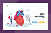 istock Ldl Hdl Heart Symptoms Landing Page Template. Tiny Characters at Huge Heart Cholesterol Diagnose. Laboratory Science 1271230318