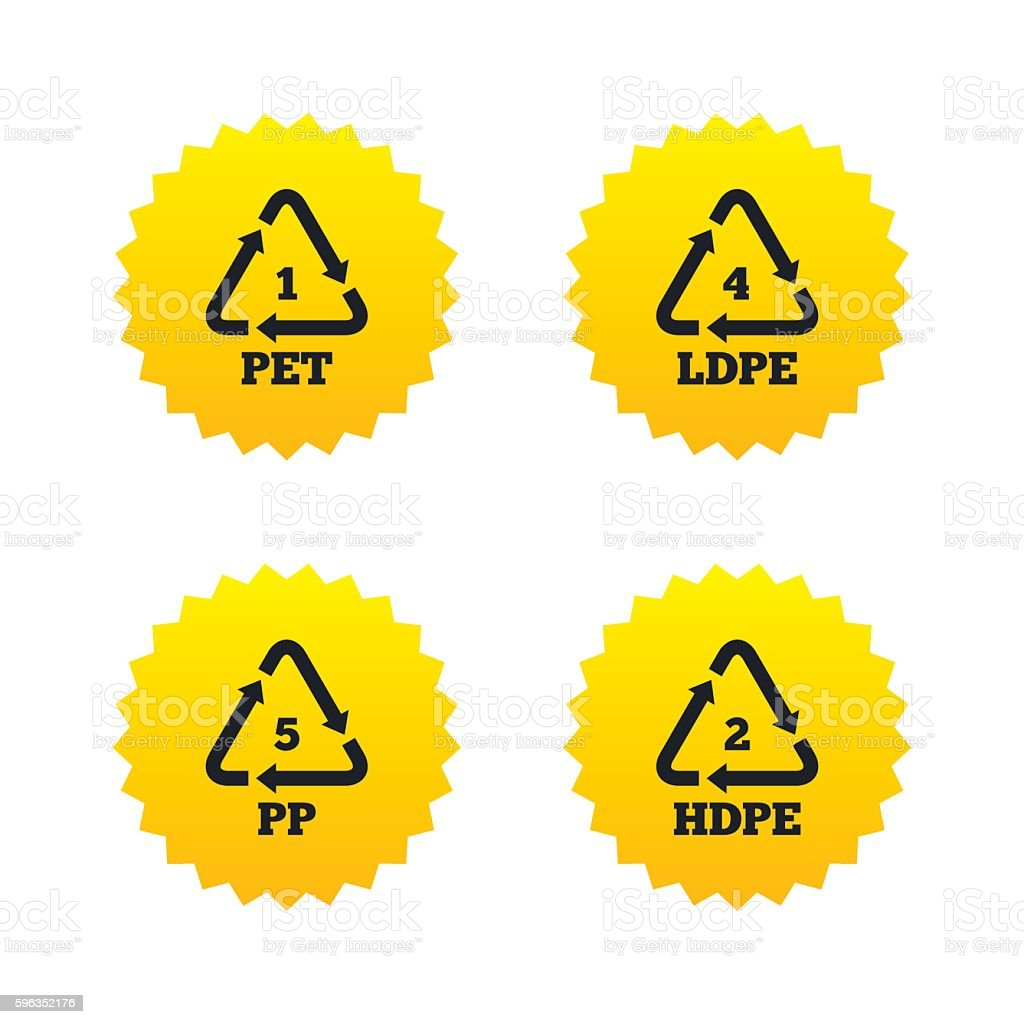 PET, Ld-pe and PP. Polyethylene terephthalate royalty-free pet ldpe and pp polyethylene terephthalate stock vector art & more images of badge