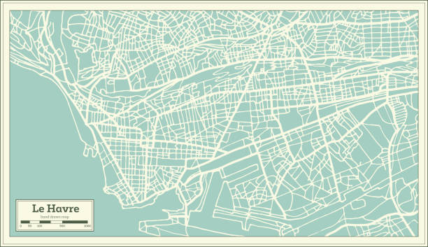 Le Havre France City Map in Retro Style. Outline Map. Le Havre France City Map in Retro Style. Outline Map. Vector Illustration. le havre stock illustrations