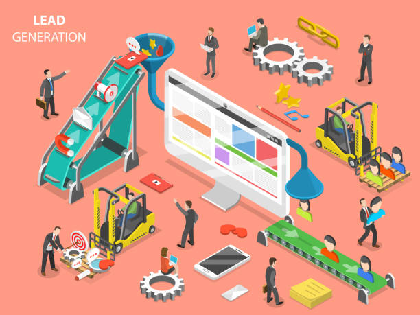 Lead generation flat isometric vector concept. Lead generation flat isometric vector concept. People are loading digital marketing attributes into a funnel from one side and getting a new leads from other side. sales occupation stock illustrations