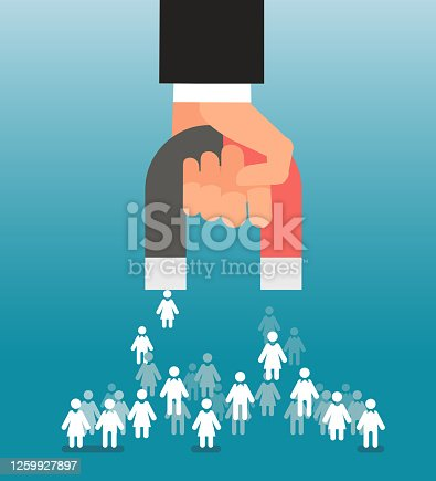 Lead generation. Magnet in hand attracts consumers. Sales and leads, marketing vector concept. Magnet attract client and customer, marketing development illustration
