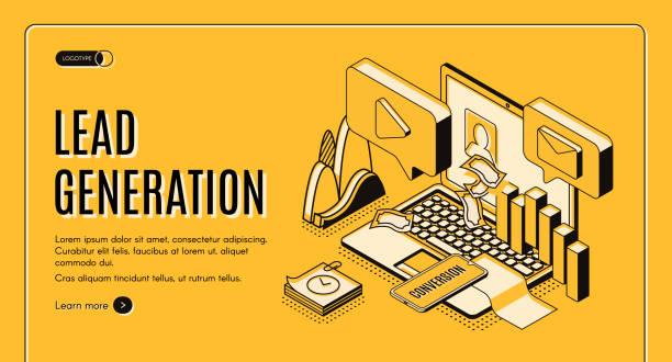 Lead generation strategy isometric vector website vector art illustration