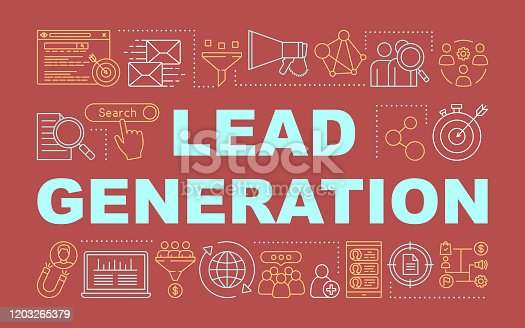 Lead generation word concepts banner. Digital marketing benefit. List building. Presentation, website. Isolated lettering typography idea with linear icons. Vector outline illustration