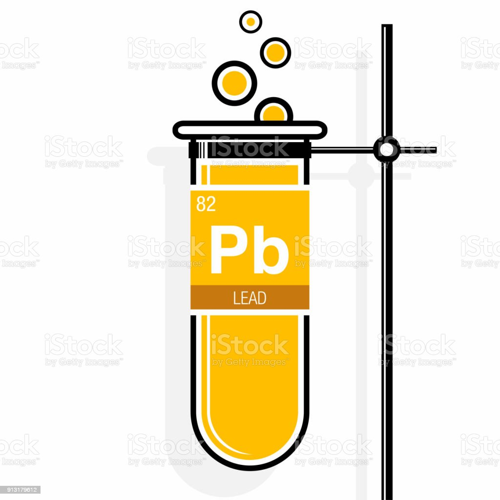 Lead symbol on label in a yellow test tube with holder element bubble built structure laboratory liquid periodic table lead symbol urtaz Gallery