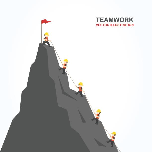 Leader help their friend to climb to the top of the mountain. Vector illustration. Leader help their friend to climb to the top of the mountain. mountain climbing stock illustrations